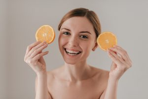 Using fruits for skin care.